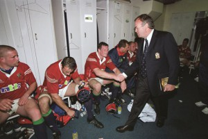 Graham Henry Congratulates his Lions on victory